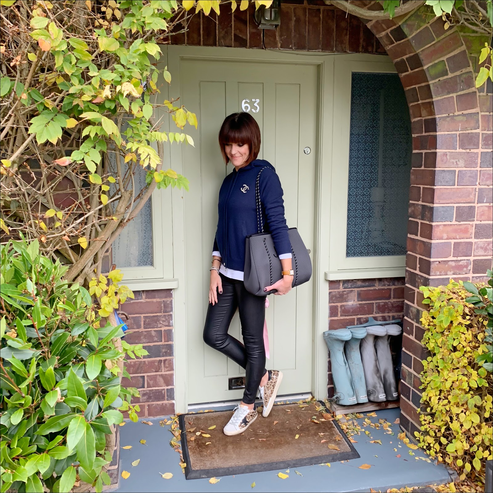 my midlife fashion, marks and spencer pure cashmere hooded jumper, marks and spencer pure cotton round neck long sleeve t shirt, chanel vintage brooch, massimo dutti leather leggings, initially london aussie neo tote, golden goose superstar low top leopard print leather trainers