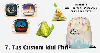 Tas Custom Idul Fitri merupakan salah satu rekomendasi souvenir spesial idul fitri yang unik dan menarik