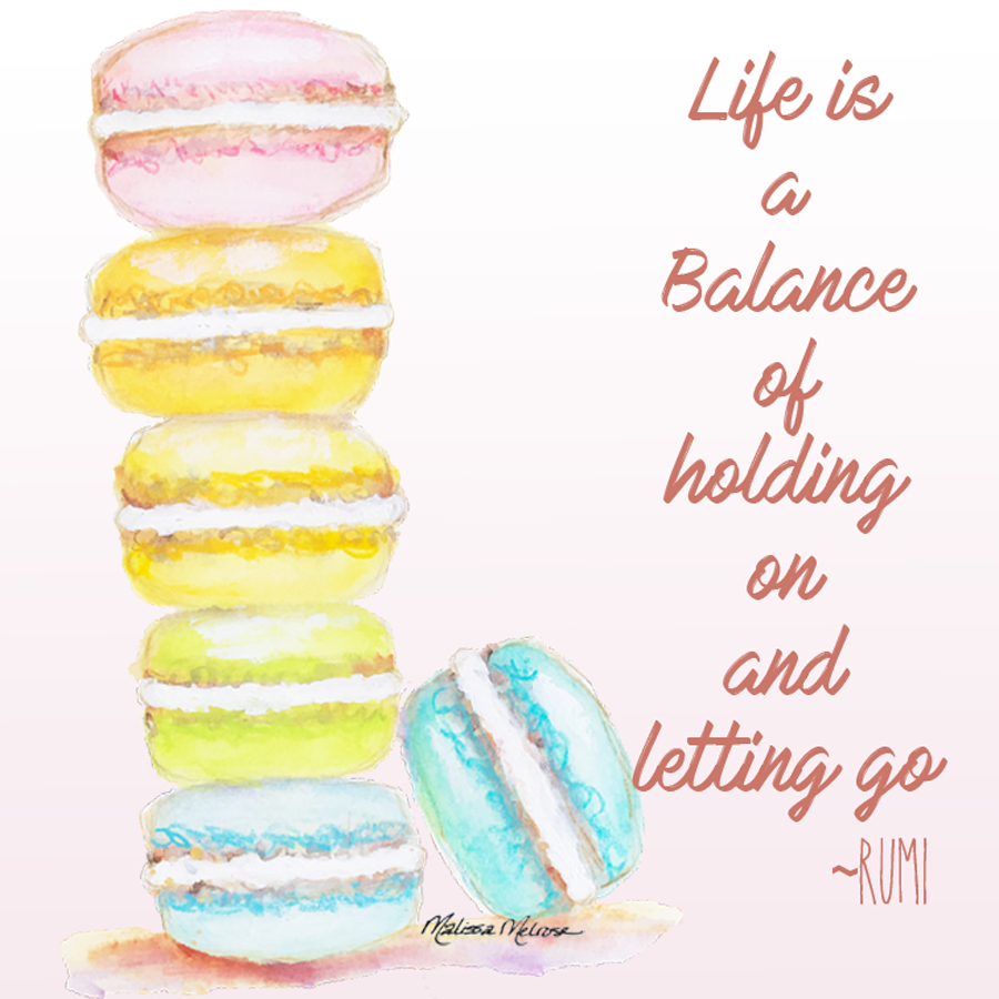 rainbow stack of macarons with inspirational quote by Rumi