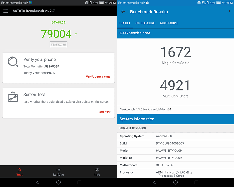 Antutu and Geekbench scores!