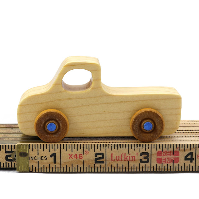 Handmade Wooden Toy Pickup Truck Play Pal Series Clear Shellac With Metallic Blue Hubs On Wood Ruler