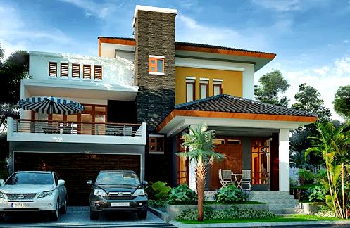 Gambar Desain Rumah Minimalis 2 Lantai Bergaya Hijau Tropis