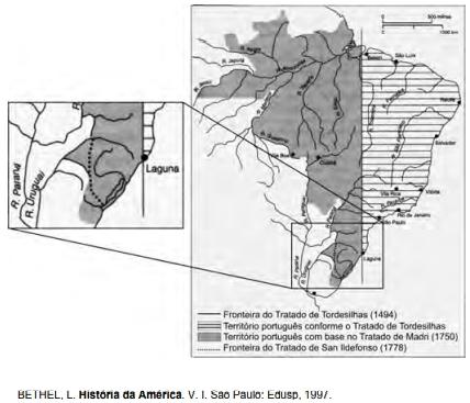ENEM 2009: As terras brasileiras foram divididas por meio de tratados entre Portugal e Espanha. De acordo com esses tratados, identificados no mapa, conclui-se que
