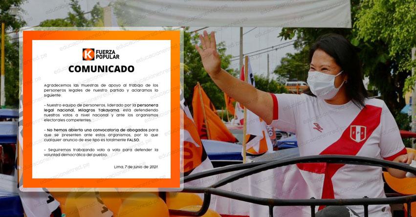 Fuerza Popular niega que abogados sean convocados para acciones ante organismos electorales tras revés en cifras oficiales