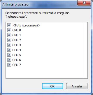 Impostazione Affinità tramite Task Manager/Gestione Attività