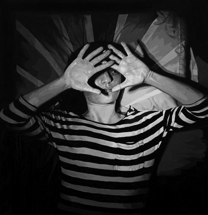 Черно-белая портретная живопись.