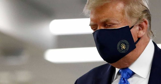 President Trump Finally Wears A Face-Mask In Public For The First Time