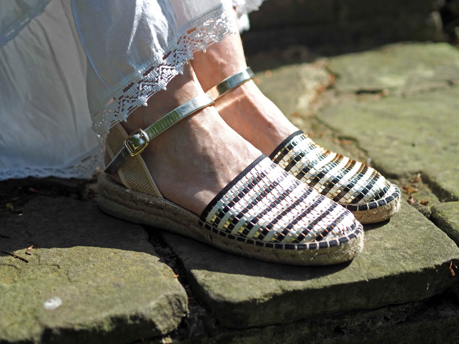 Black, white and gold leather espadrilles with low wedge