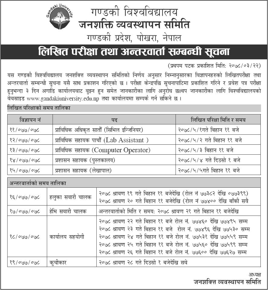 Gandaki University Written Exam and Interview Schedule for Employee Recruitment