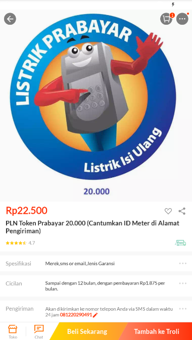 pilih token listrik prabayar lazada
