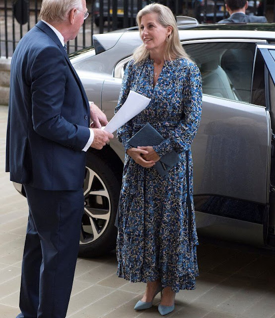 The Countess of Wessex wore a new flower-field tiered maxi dress by ME+EM