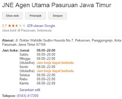 JNE Agen Utama Pasuruan Jawa Timur