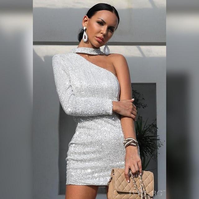 Μεσάτο  κοντό  ασημί φόρεμα JOLANDA