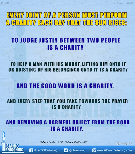Every joint of a person must perform a charity each day that the sun rises | Islamic Reasoning Designs
