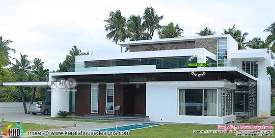 Side elevation of work finished house in Kerala