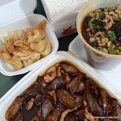 Sichuan River eggplant with garlic sauce, crab rangoon, dan dan noodles