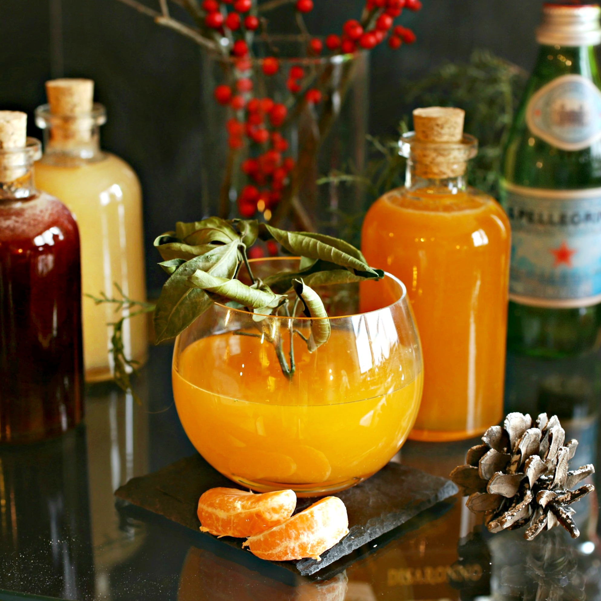 Recipe for a gin cocktail flavored with a mandarin orange shrub.