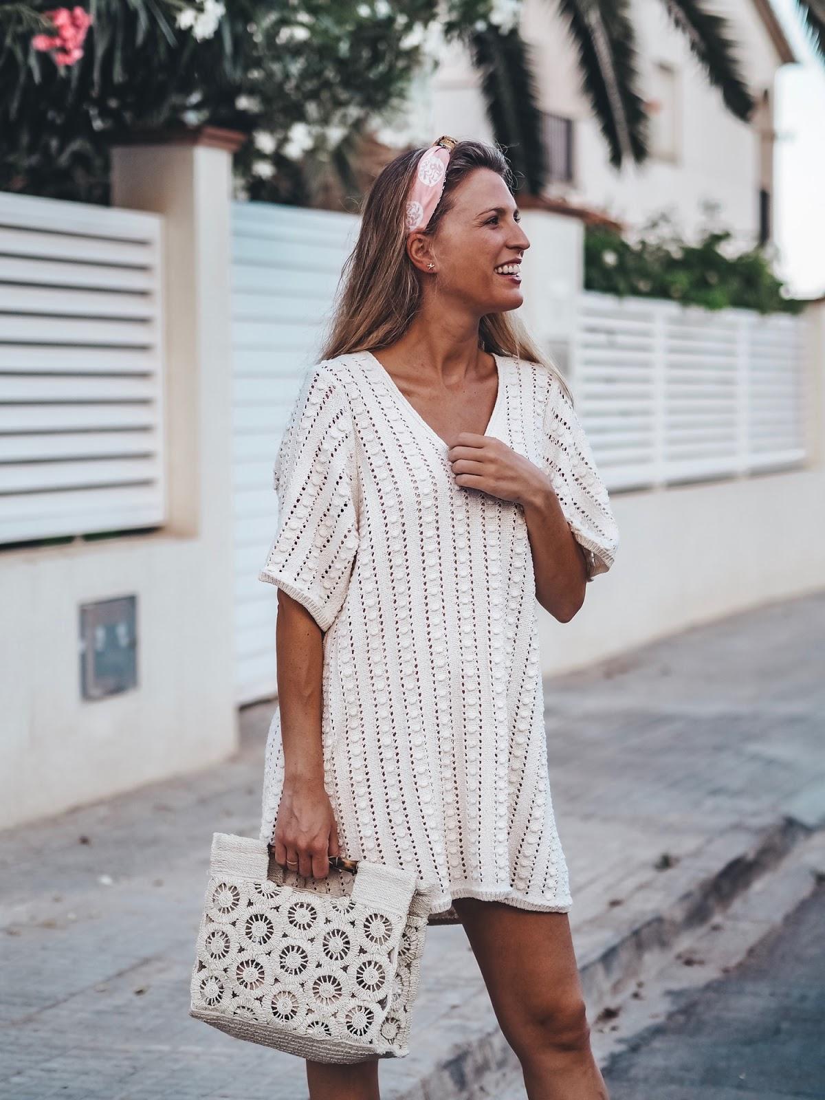 bolso de crochet blanco