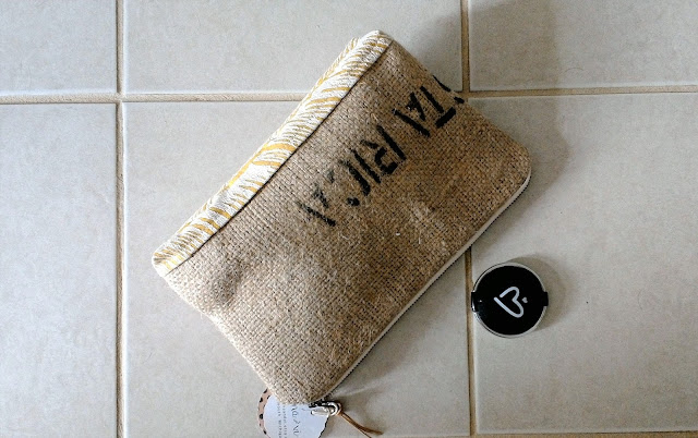 Repurposed burlap zipper pouch handmade in Plymouth Michigan by Lina and Vi