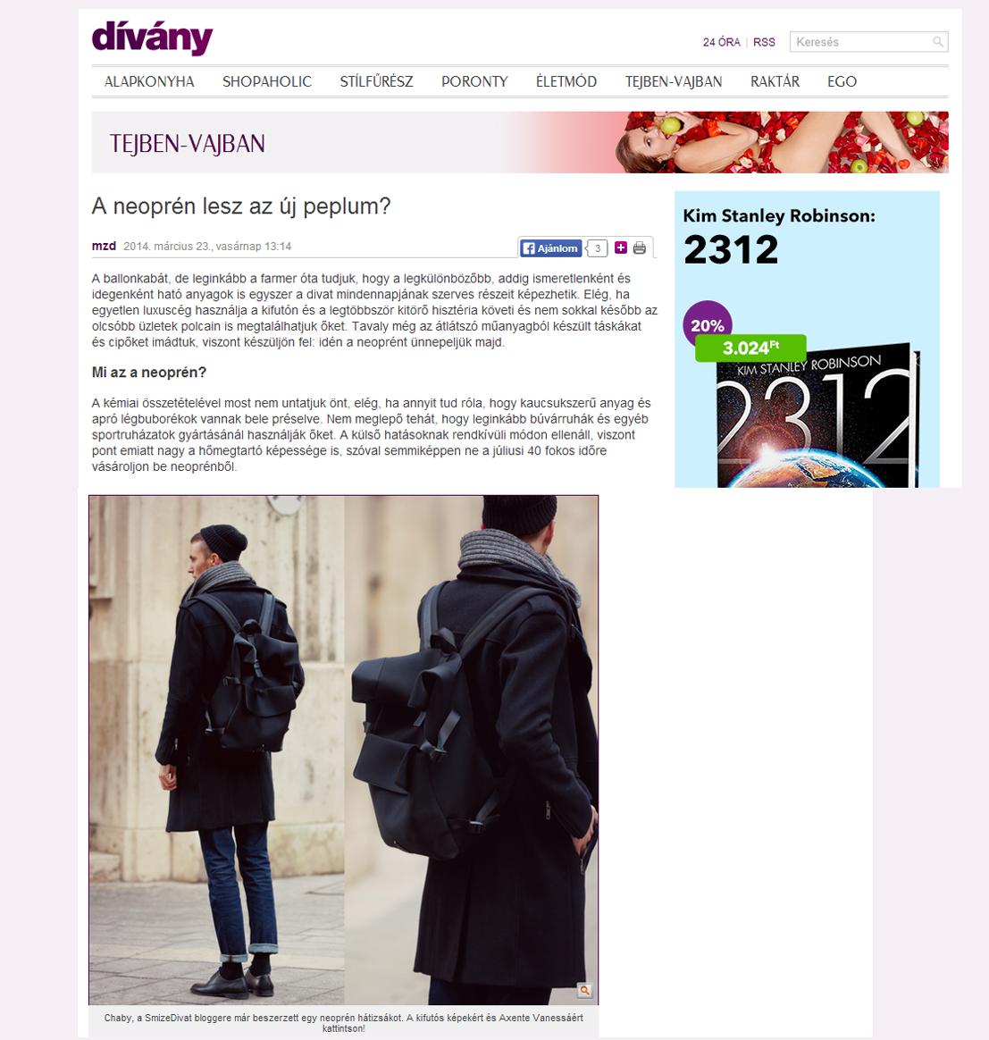 Nagyszerű cikk a legújabb trendről a Dívány.hu-on.-Fókuszban a Neoprén ! 8d2dc6ef5b