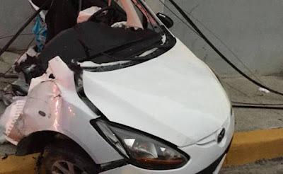 Conductor y su vehículo quedan en pedazos durante accidente en la Núñez de Cáceres