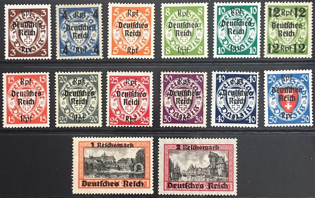 Germany Third Reich 1939 Danzig issues overprint Deutsches Reich