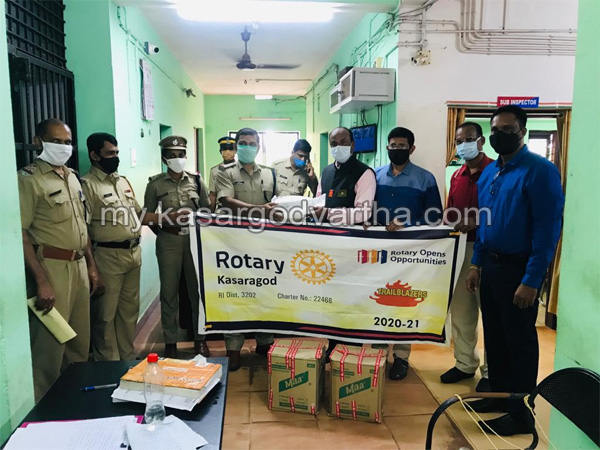 Kerala, News, Rotary Club handed over PPE kits to Kasargod Police Station