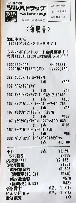 ツルハドラッグ 酒田本末店 2020/5/18 のレシート