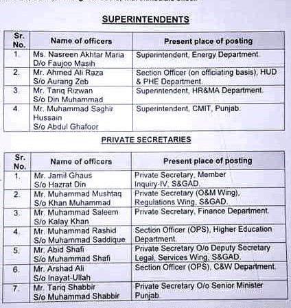 PROMOTION SUPERINTENDENTS AND PRIVATE SECRETARIES AS PMS OFFICERS