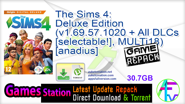 The Sims 4 Deluxe Edition (v1.69.57.1020 + All DLCs [selectable!], MULTi18) [anadius]