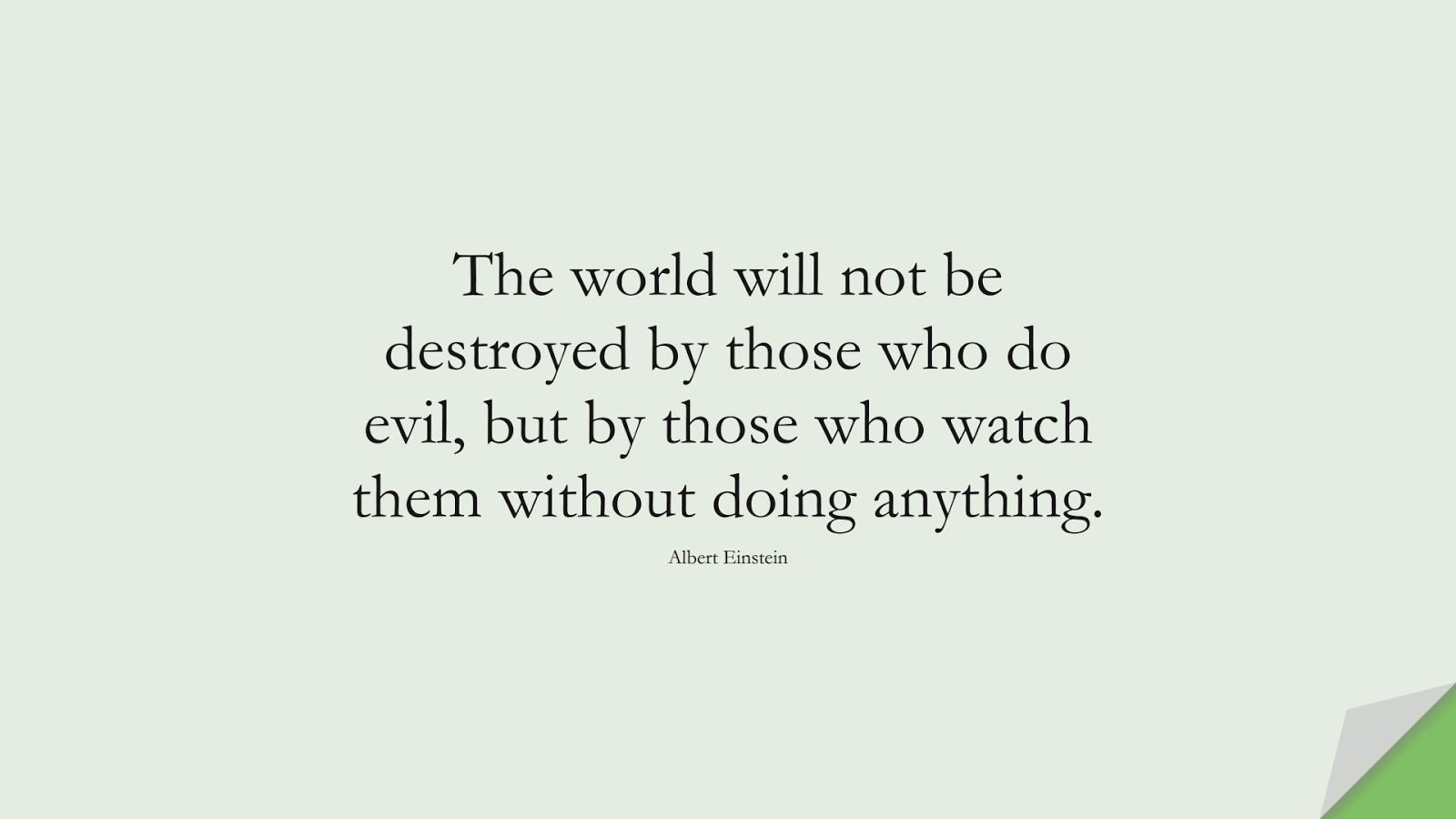 The world will not be destroyed by those who do evil, but by those who watch them without doing anything. (Albert Einstein);  #HumanityQuotes