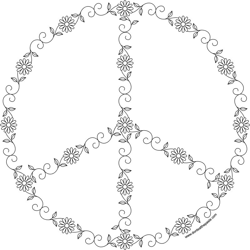 Small peace sign coloring pages ~ Don't Eat the Paste: Spring Peace Symbol- coloring page