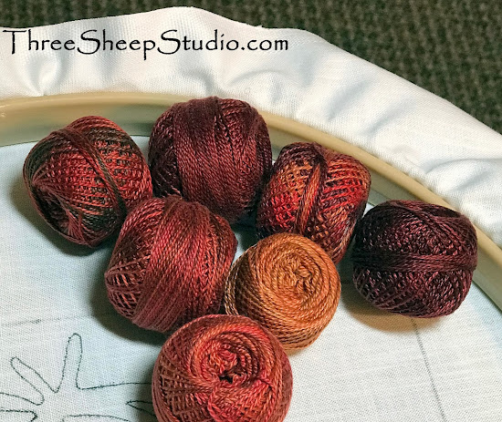 Variegated Valdani Perle Cotton Thread - Pomegranate shades