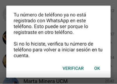 Notificación de que te han expulsado de la sesión actual de WhatsApp