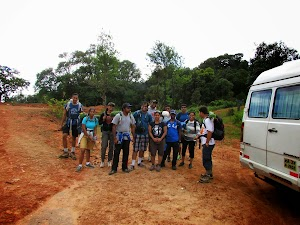 Group posing for photo before starting the Kumara Parvatha trek