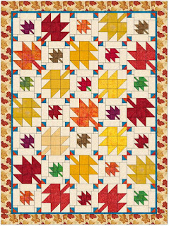 Fall Leaves lap size quilt diagram by QuiltFabrication