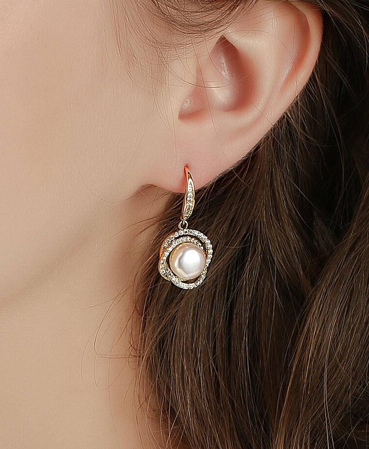 典雅名媛淡水真珍珠鋯石耳環