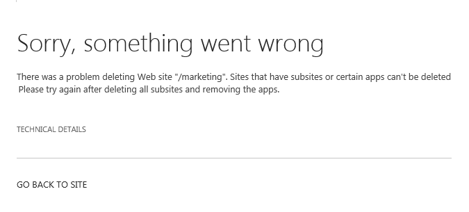 cannot delete sharepoint subsite