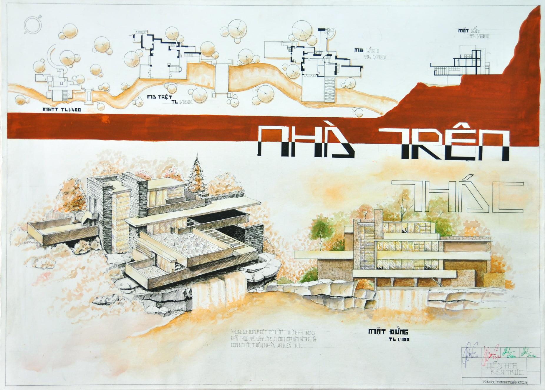 đồ án diễn họa kiến trúc bằng tay sinh viên uah