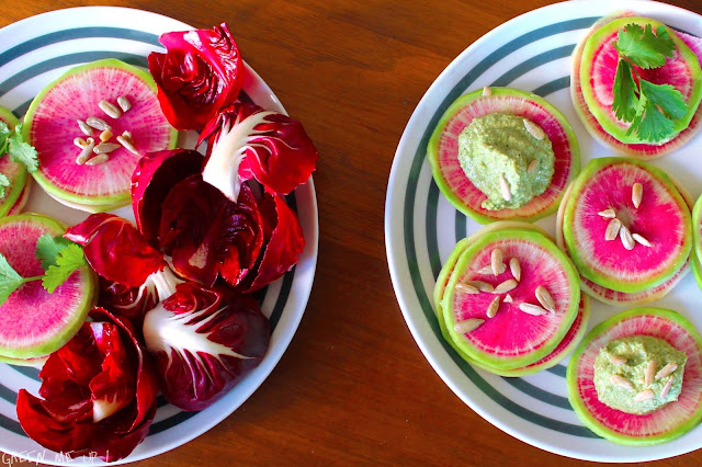 raviolis crus radis watermelon poire coriandre