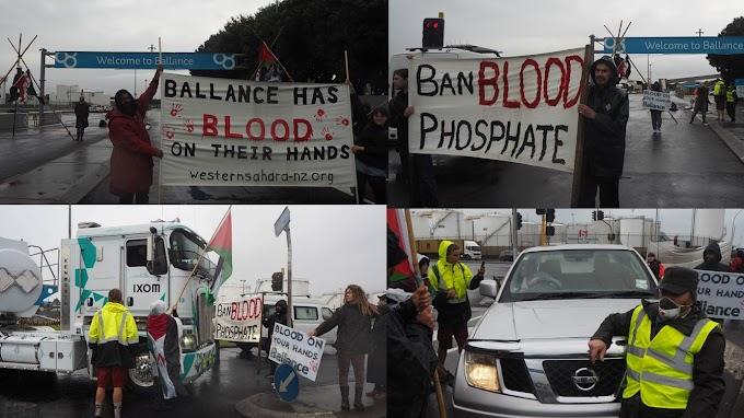 Manifestantes bloquean la llegada de fosfato saharaui a una empresa neozelandesa y ésta accede a reunirse con el Frente Polisario para tratar el saqueo ilegal.