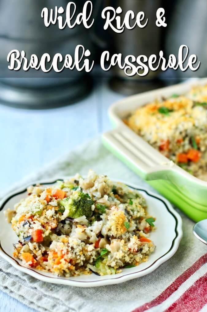 Wild Rice and Broccoli Casserole with Homemade Cream of Mushroom Soup