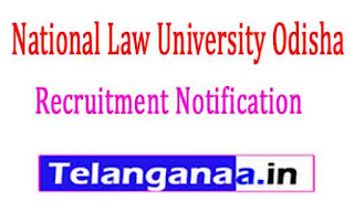 National Law University OdishaNLUO Recruitment Notification 2017