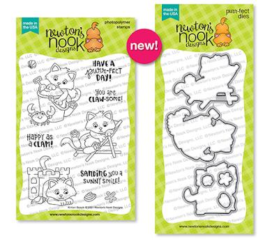 Kitten Beach Stamp and Die Set by Newton's Nook Designs