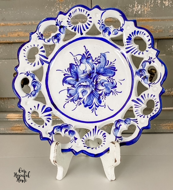 Portugal lattice edge blue and white plate
