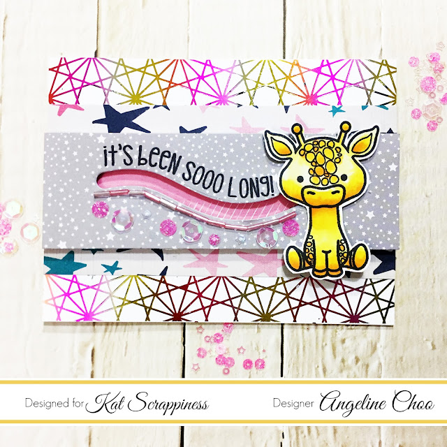 ScrappyScrappy: Lola the Giraffe Slider Card with Kat Scrappiness #scrappyscrappy #katscrappiness #lawnfawn #thermoweb #heidiswapp #lolathegiraffe #mincmachine #foilables #creativevisionstamps #foiling #decofoil #katscrappinesssequins #sequins #buglebeads #copicmarkers #sliderdie #slidercard #card #cardmaking #stamp #stamping #craft #crafting