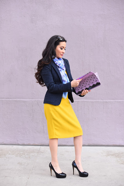 Joanna Joy A Stylish Love Story Fashion Blogger Petite Fashion Blogger yellow Zara shift dress Vera Wang floral blue and purple scarf Armani Exchange Wool Jacket Black Patent Leather Platform Heels Brian Atwood heels Tom Ford brown sunglasses