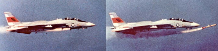 A sequence of photos showing the Sparrow missile misfiring on a F-14 Tomcat piloted by Pete Purvis.
