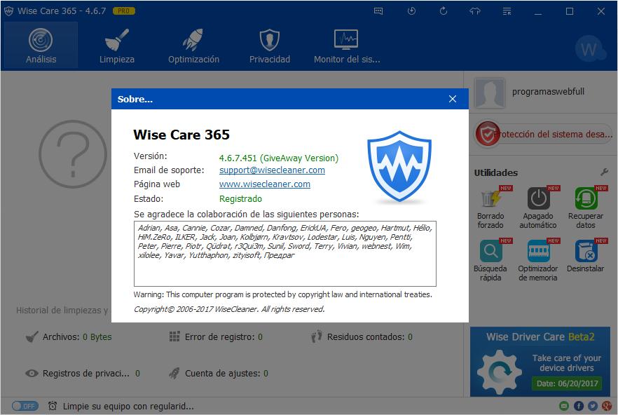 Wise Care 365 Pro Gratis