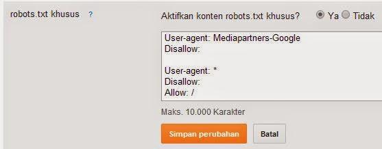 contoh setingan robot.txt